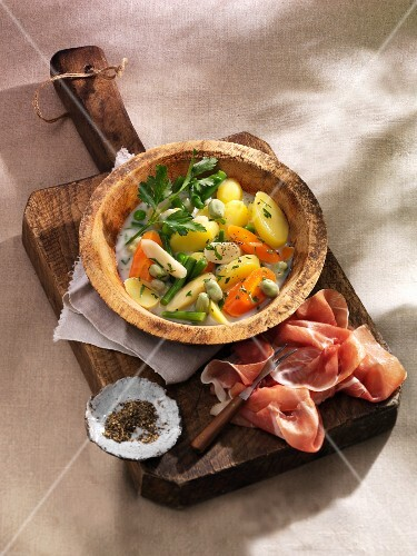North German vegetable stew with cured ham