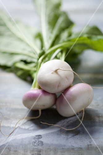 White turnips with leaves