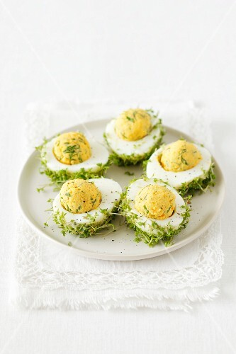 Stuffed eggs with cress