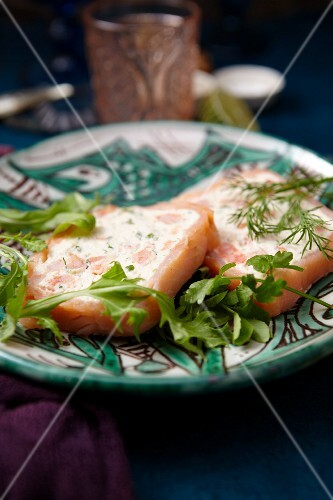 Salmon terrine with dill and rocket