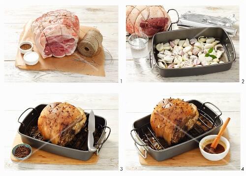 Studded roast pork being prepared