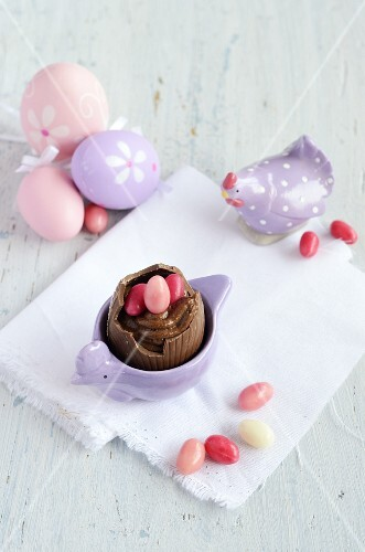 Mousse au chocolat in a chocolate egg