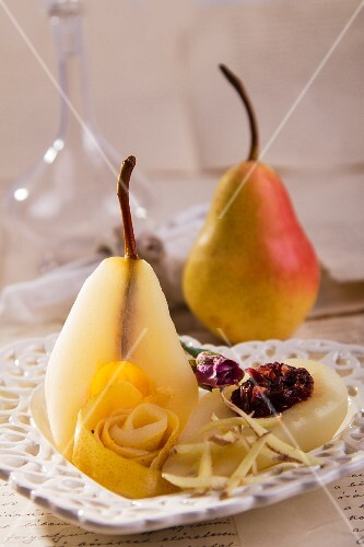 Poached pears with ginger and rose petals
