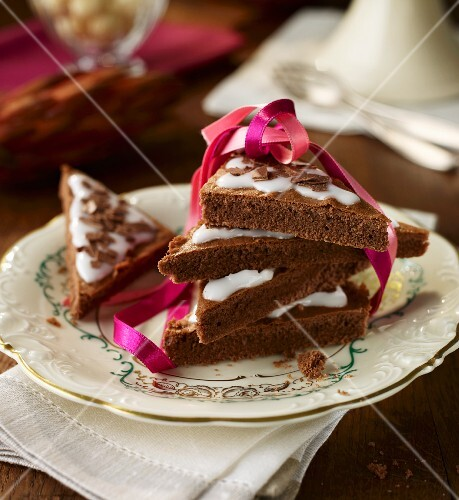 Triangles of Lebkuchen (spiced soft gingerbread from Germany)