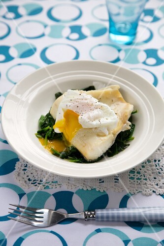 Haddock on a Bed of Wilted Spinach Topped with a Poached Egg