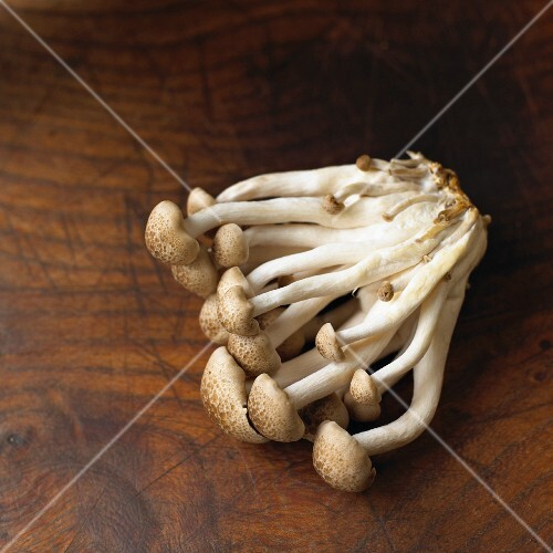 Fresh brown shimeji mushrooms on a wooden surface