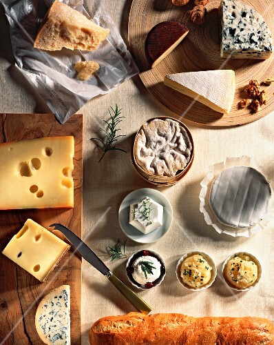 Assorted types of cheese including Vacherin