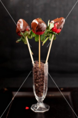 Chocolate Covered Strawberries; Skewered and in a Glass of Chocolate Chips