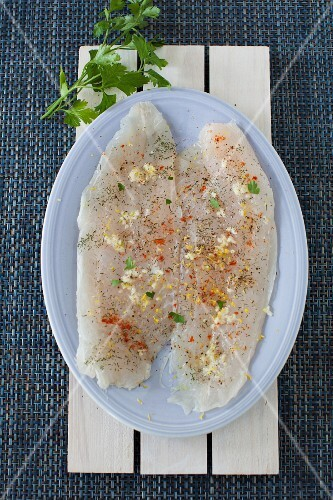 Fresh Basa Fillets Seasoned with Herbs and Spices