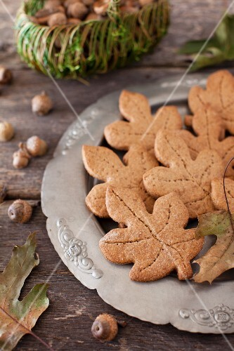 Leaf Shaped Whole Wheat Maple Graham Cookies on a Platter; Acorns