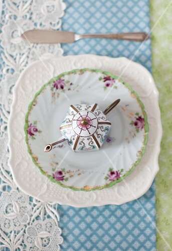 Decorative Tea Pot on a Plate; From Above