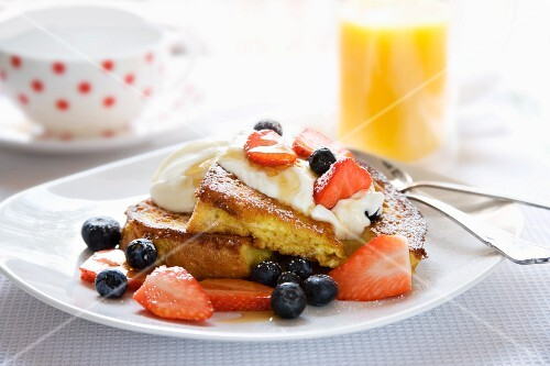 French Toast Brioche with Greek Yoghurt and Summer Berries