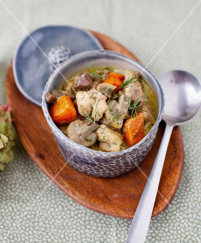 Curried Turkey Stew with Mushrooms and Carrots