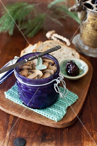 Homemade Chicken Liver Pate with Mushrooms and Sage; Fig Preserves and Bread