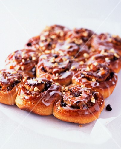 Chelsea buns with dried fruit and sugar glaze