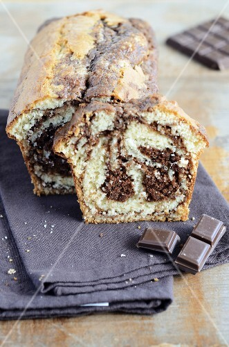 Marble cake, a slice cut