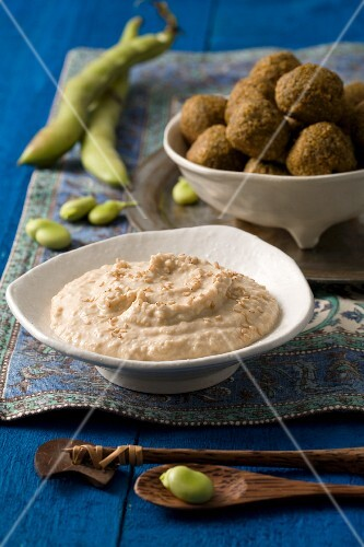 Falafel made with broad beans and chickpeas, served with houmous