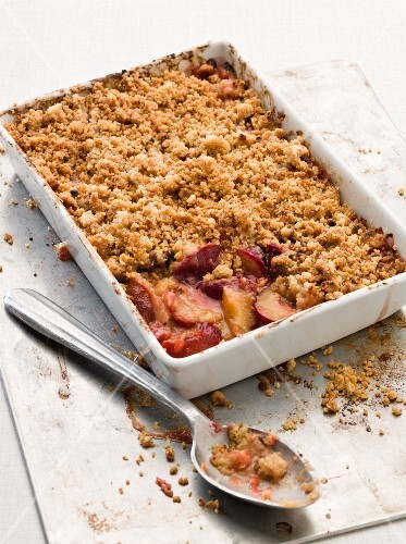 Plum crumble in the dish it was baked in