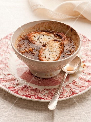 French onion soup topped with cheesy toast