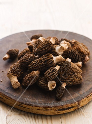 Fresh morels on a round wooden board