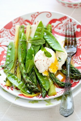 Spring Vegetable Salad with Poached Egg