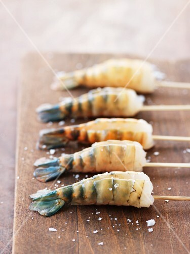 Skewered prawns