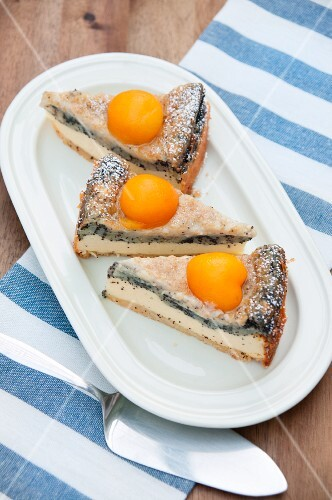 Three slices of apricot and poppy seed cake