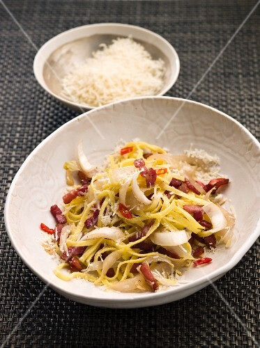 Tagliolini with Chilli, Bacon and Chicory