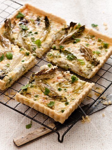 Pea, Little Gem, and Parmesan Tart