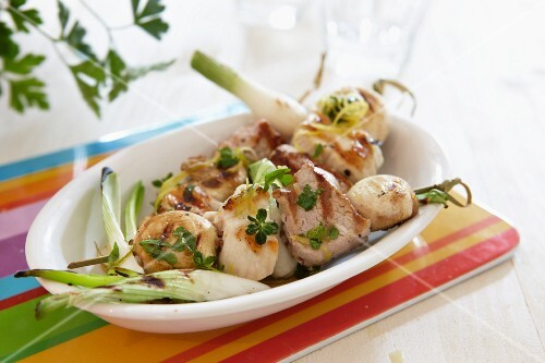 Chicken kebabs with fennel