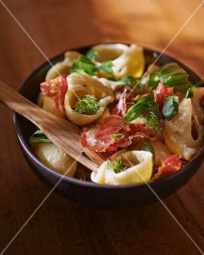 Pasta shells with coppa, an Italian cold cut
