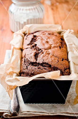 Chocolate cake baked in a loaf tin