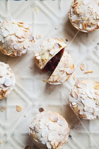 Mini almond pies with cherry filling (view from above)