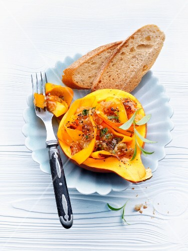 Stuffed squash with an onion dressing