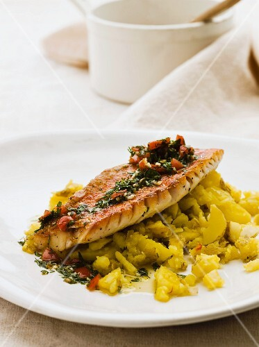 Red mullet with saffron potatoes and tomato & dill salsa