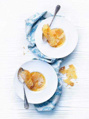Caramelised coconut crème with orange wafers