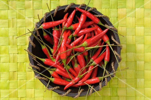 Fresh red chillies in a basket