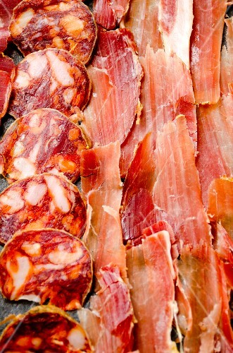 Thinly sliced Spanish Serrano ham, chorizo and lomo
