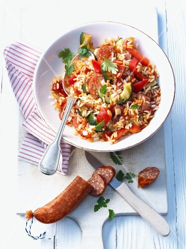 Rice with peppers and sausage