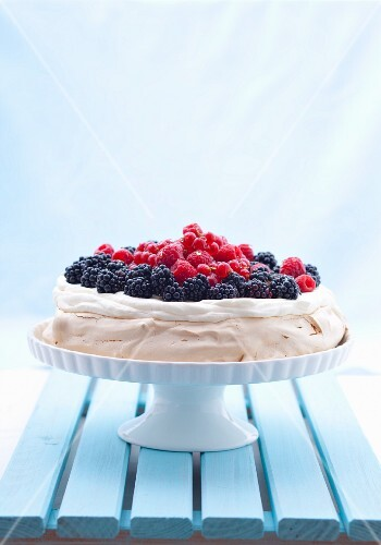 Berry pavlova on a cake stand