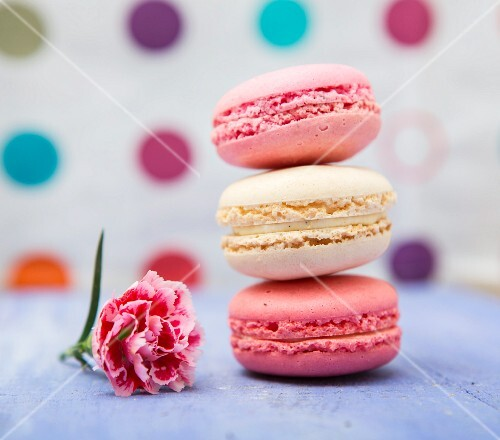 Three macaroons and a pink