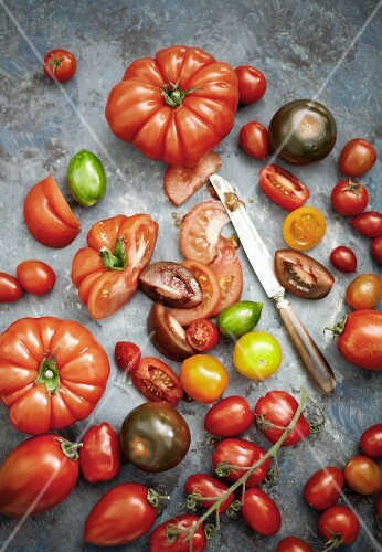 Assorted varieties of tomatoes, whole and sliced