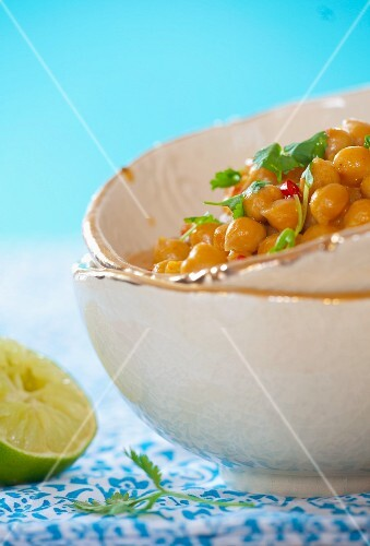 Spicy chickpeas in coconut milk with coriander and chillies