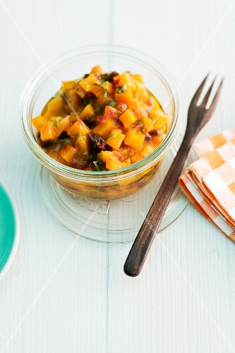 Squash chutney in a glass bowl