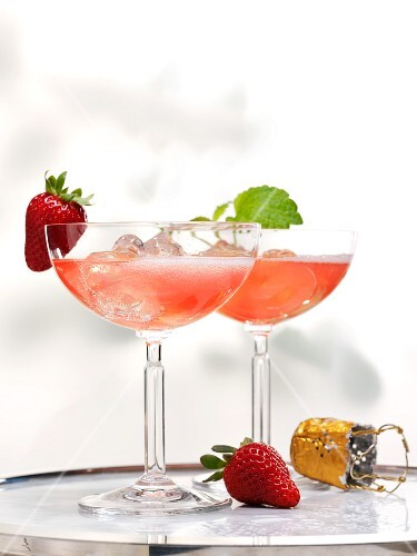 Champagne and strawberry cocktails