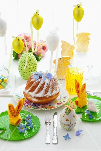 Babka (Easter cake, Poland) on an Easter table