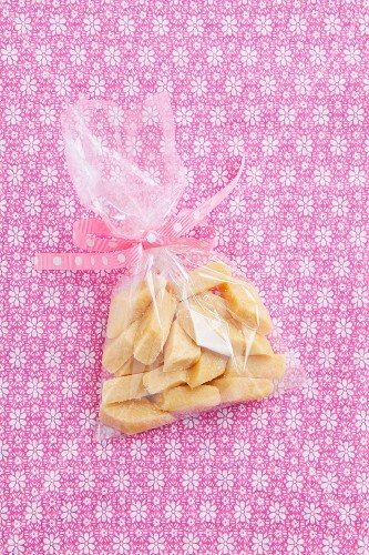 Home-made fudge in a cellophane bag