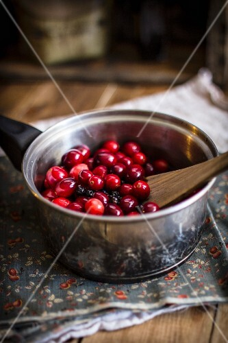 Whole Cranberries in a Pot