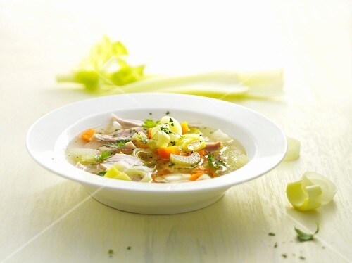 Chicken soup with celery