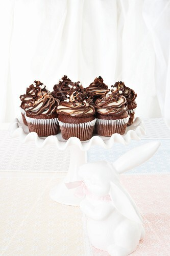 Chocolate muffins with chocolate ganache for Easter celebrations